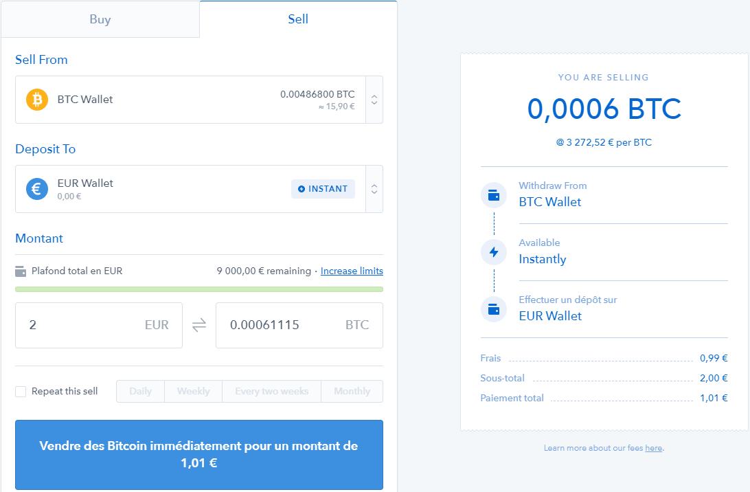 onglet pour vendre des bitcoins contre des euros sur coinbase