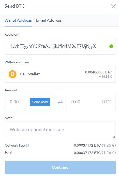 onglet pour envoyer des bitcoins vers une autre adresse