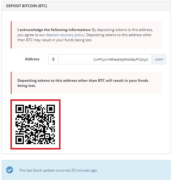qr code de votre portefeuille bittrex