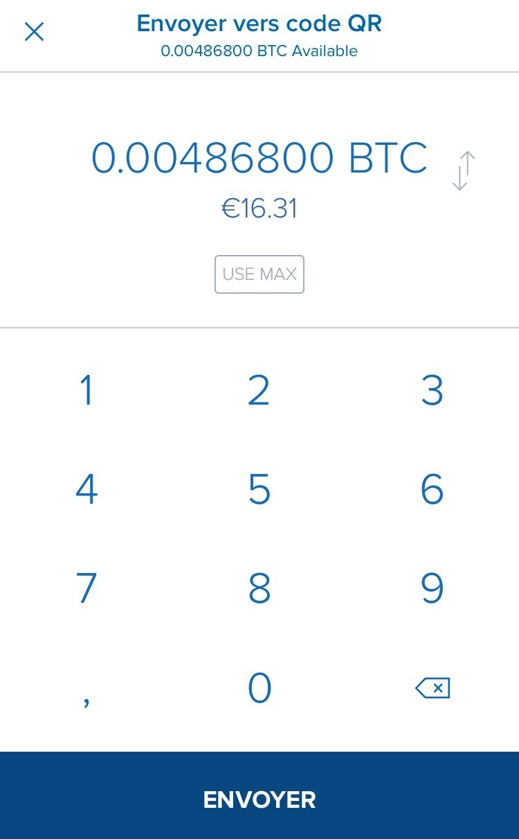 choix du nombre de bitcoins à envoyer