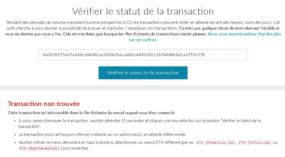 myetherwallet-transaction-non-trouvee