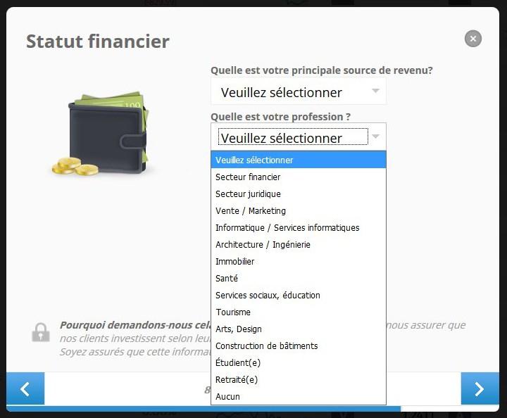 indiquez votre statut financier