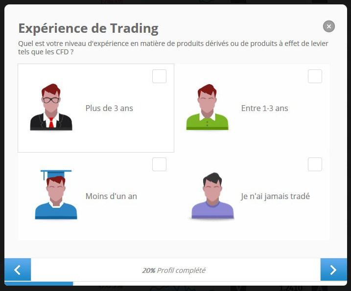 préciser votre expérience de trading