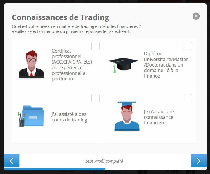 indiquez vos connaissance en trading
