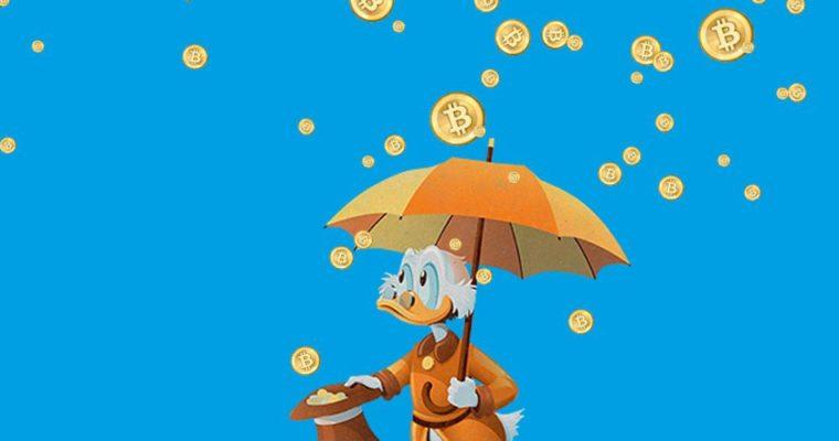 Dessin de Picsou sous une pluie de bitcoins