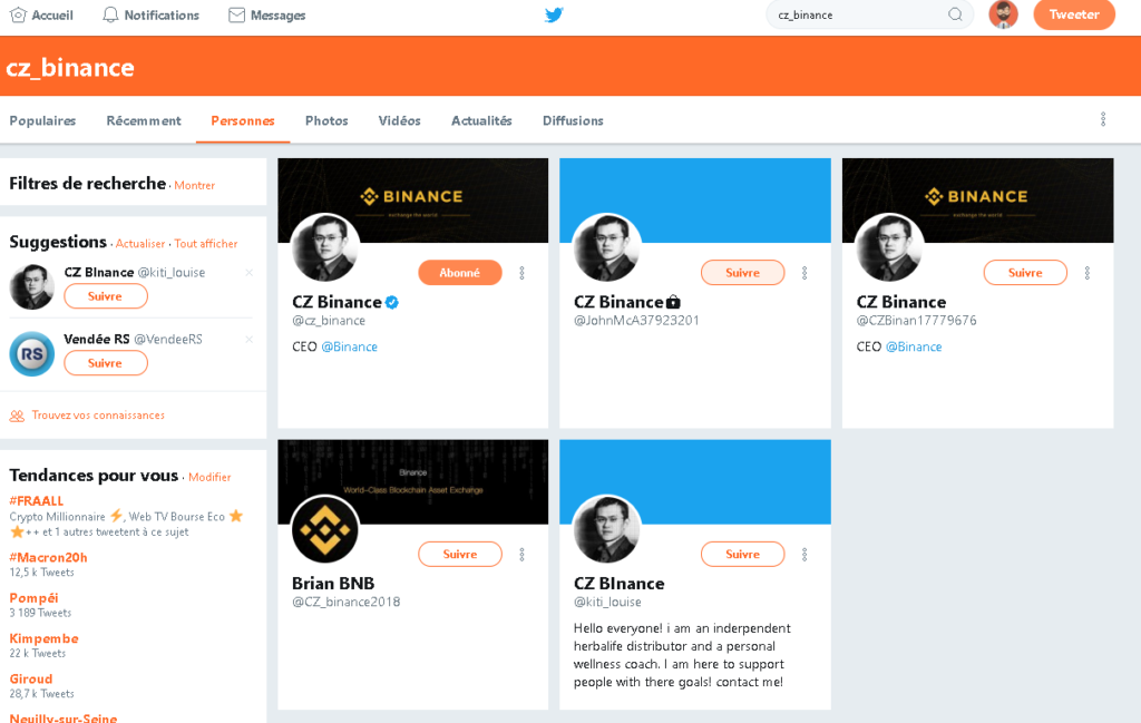 Faux compte twitter arnaque crypto