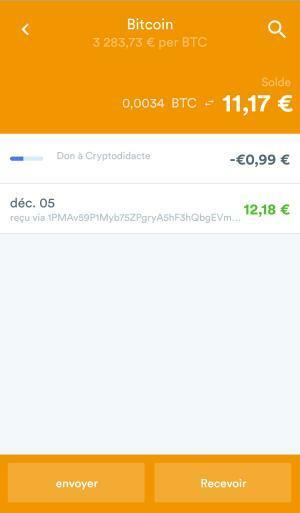 Bitcoins envoyés