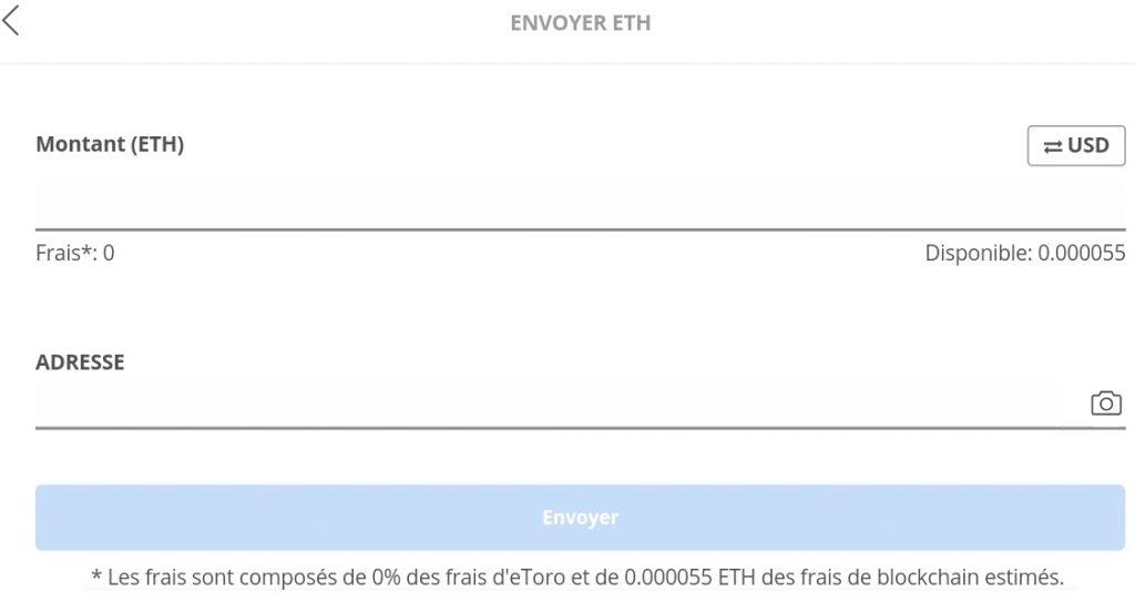 Envoi ETH wallet Etoro