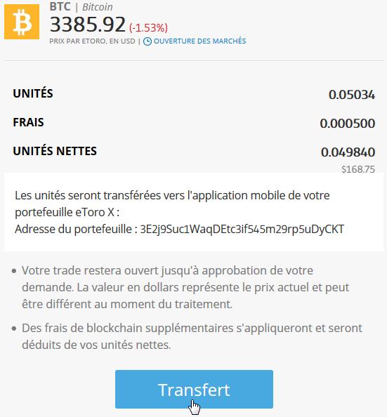 Transfert bitcoins sur Etoro vers wallet Etoro X