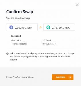 confirmer transaction sur kyberswap