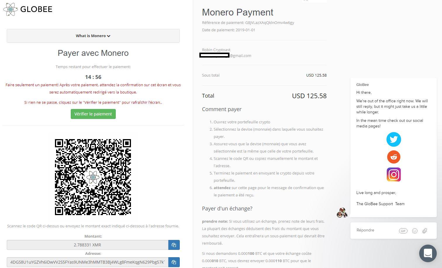 page paiement sur fortnite en monero