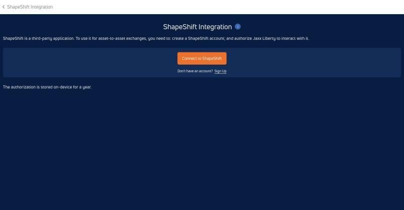 Connexion à ShapeShift 1