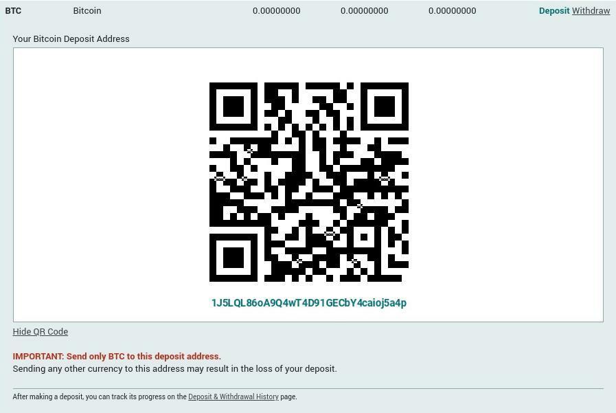 Adresse de dépôt BTC