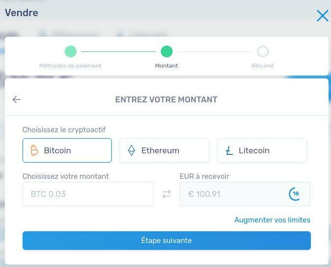 Choix montant bitcoin à vendre