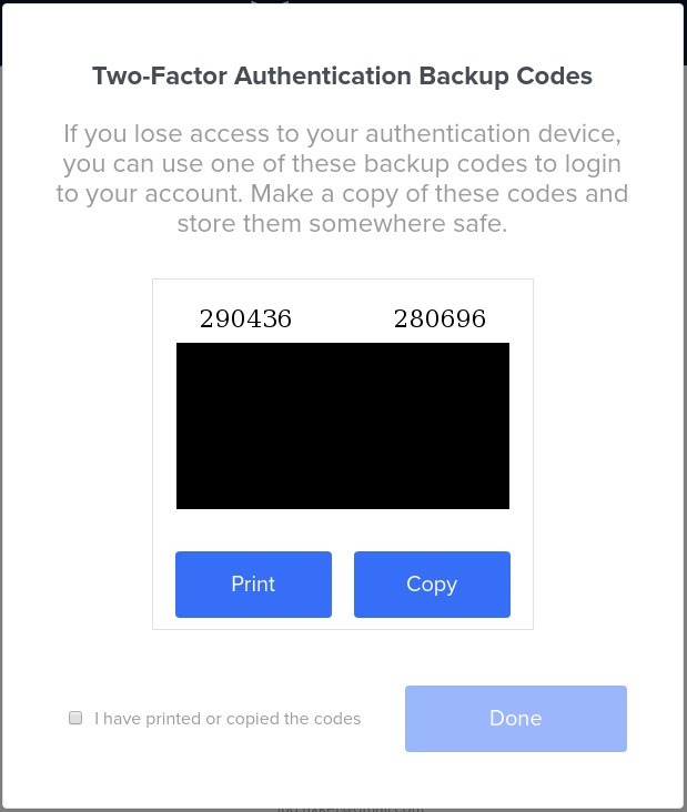 Code de sauvegarde de la double authentification