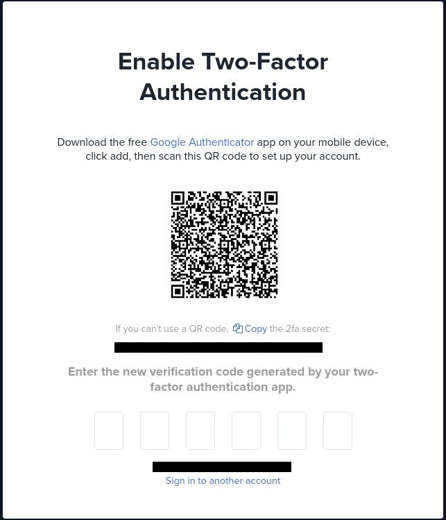 Code de mise en place de la double authentification