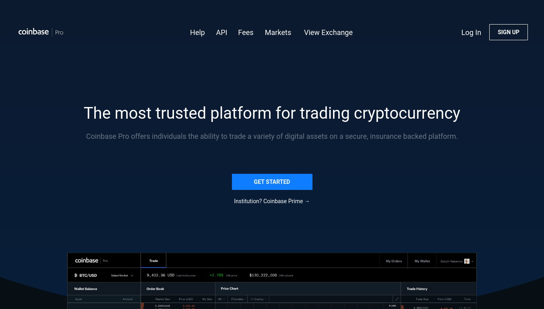 Accueil Coinbase Pro