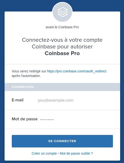 Connexion Coinbase