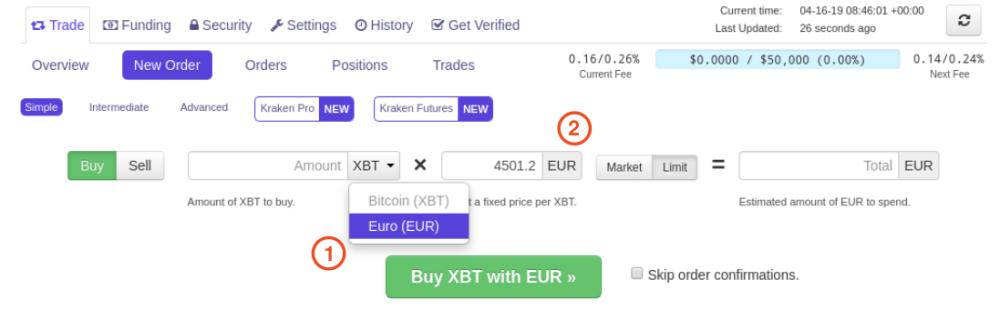 Nouvel ordre vide pour acheter des bitcoins avec des euros sur Kraken