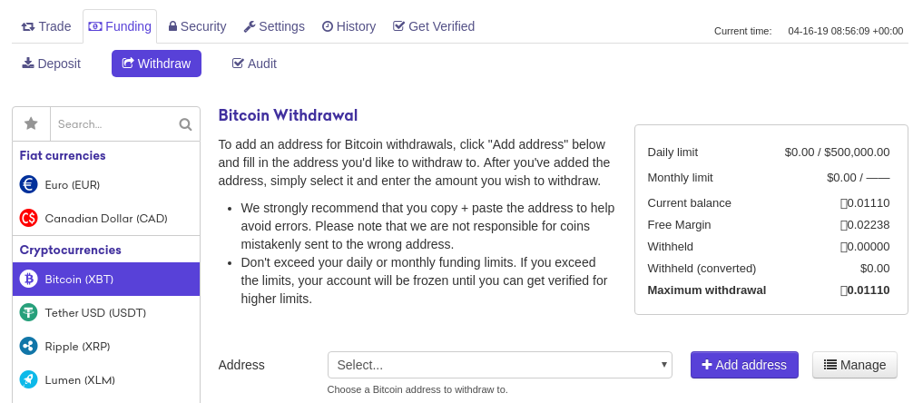 withdraw Bitcoin