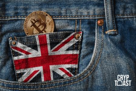 Pièce de Bitcoin BTC drapeau britannique