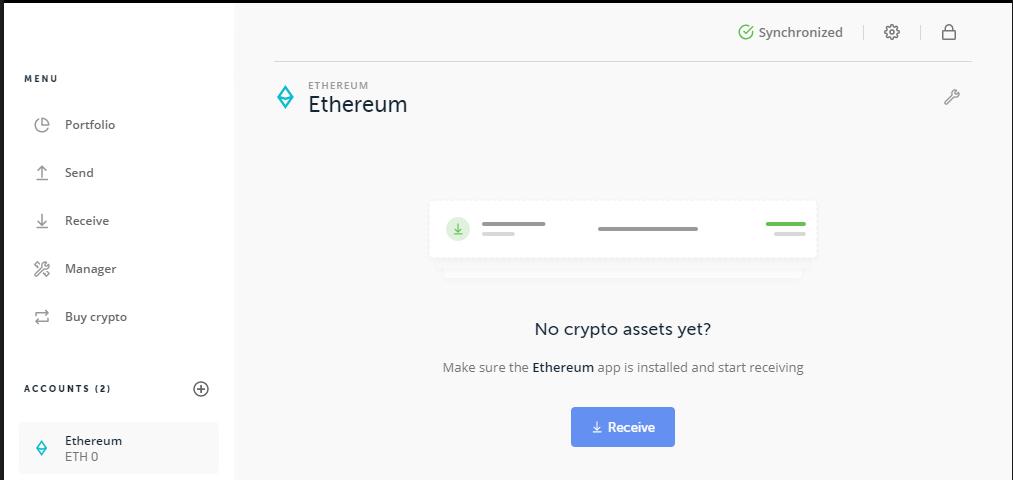 aperçu d'un compte ethereum sur ledger live