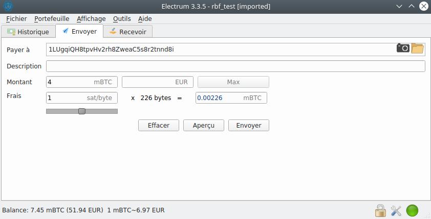 Transaction frais faibles Replace-by-Fee Electrum