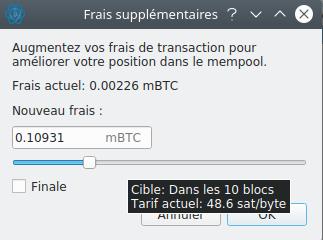Spécifier frais transaction remplacée Replace-by-Fee Electrum