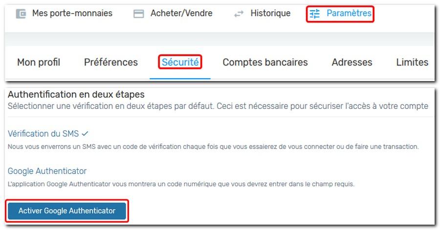 activer google authenticateur sur kriptomat