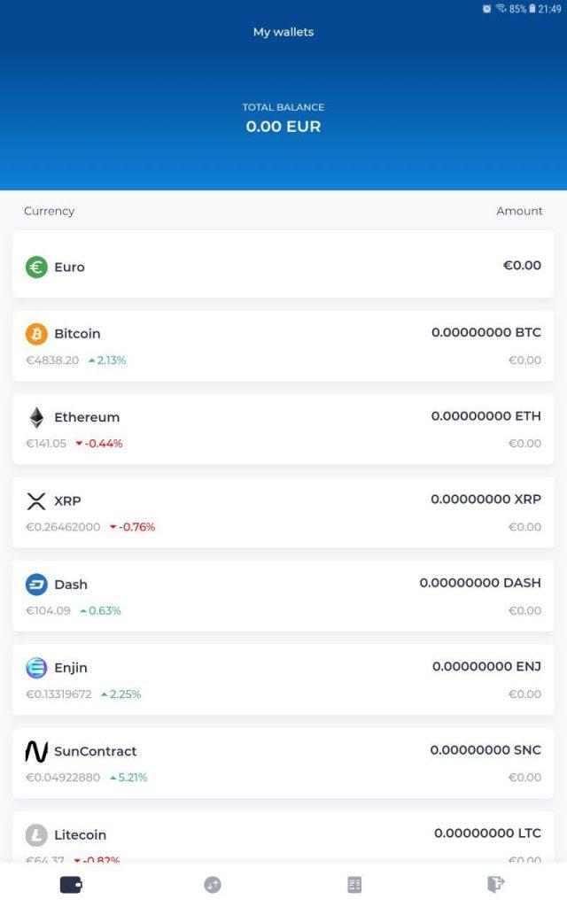 portefeuille sur l'application mobile