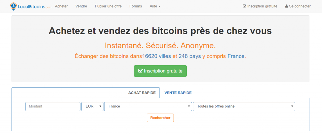 page d'accueil localbitcoins
