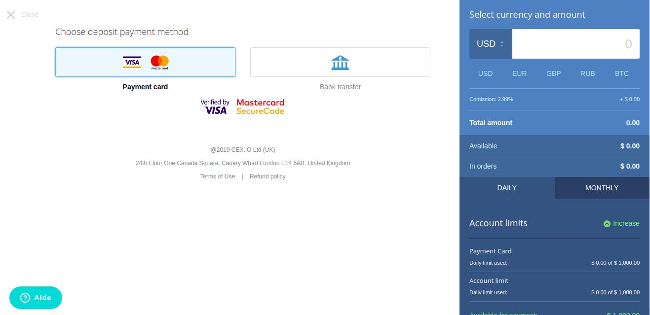 Choix méthode de dépôt CEX.IO