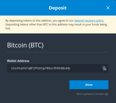 Bittrex fenêtre adresse réception BTC