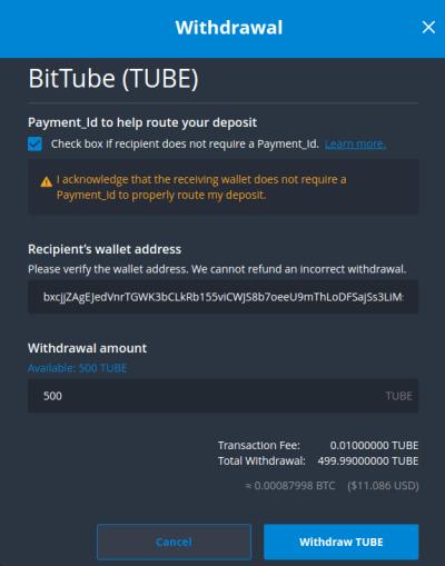 Bittrex retrait BitTube