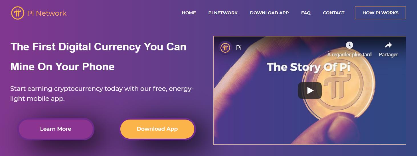 Capture d'écran du site internet de Pi Network