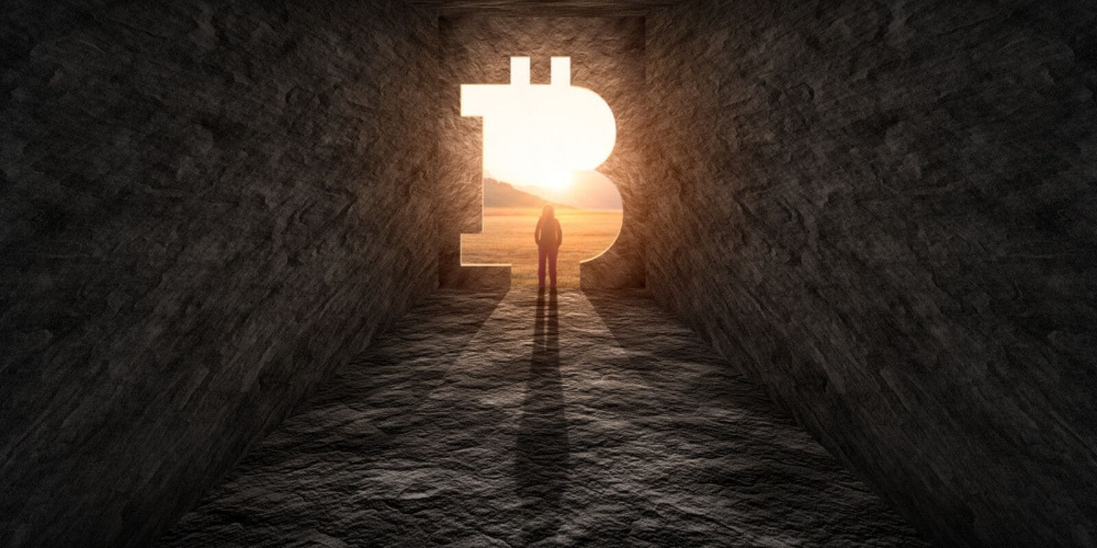 Une grotte avec le symbole Bitcoin