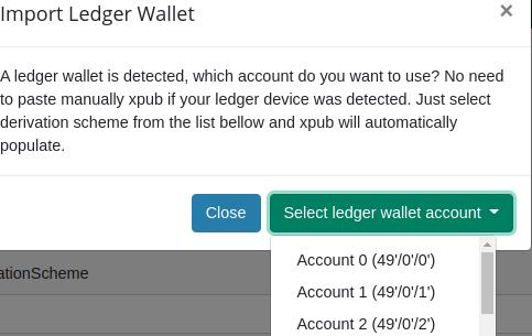 sélection du compte dans l'interface d'importation de la clef publique étendue