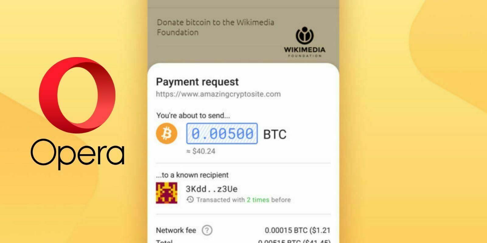Opera ajoute le support du Bitcoin et du Tron sur Android