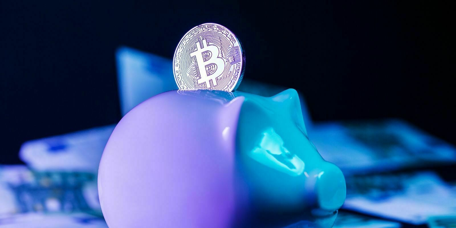 Tirelire en cochon avec une pièce en Bitcoin