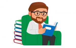 Jean en train de lire un livre sur le Bitcoin