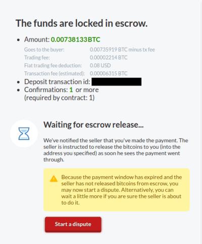 attente du déblocages des fonds après le paiement fiat