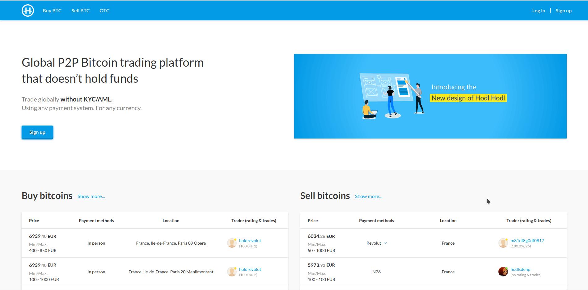 Hodl Hodl page d'accueil