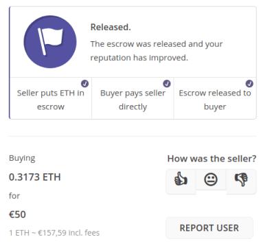 Échange réalisé sur LocalCryptos
