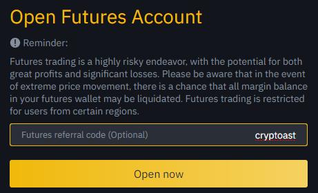 Activation du compte Binance Futures