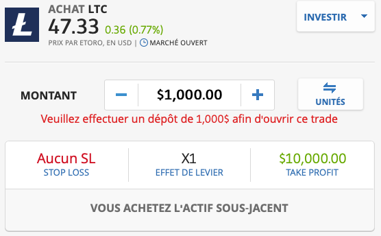 acheter du litecoin sur etoro