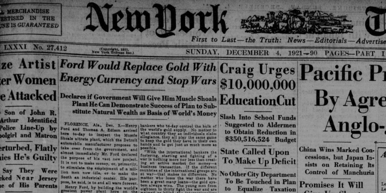 Une du NY Tribune du 4 décembre 1921 à propos de la monnaie énergie de Ford