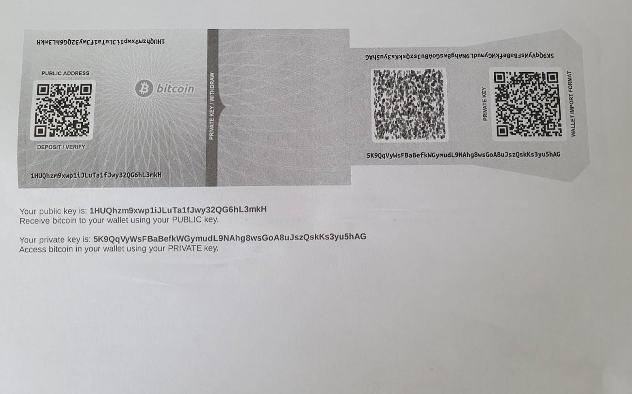 paper wallet imprimé