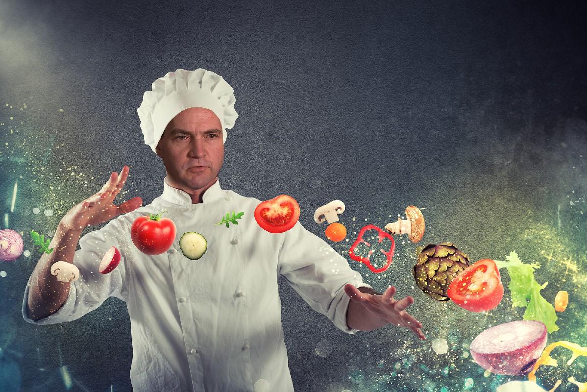 Montage photo de Craig Wright déguisé en cuisinier