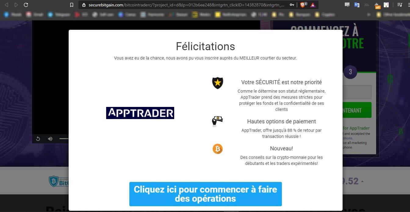 Bitcoin Trader Apptrader arnaque