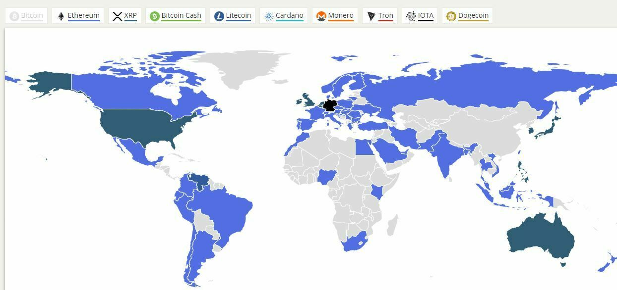 Intérêt altcoins monde Google Trends